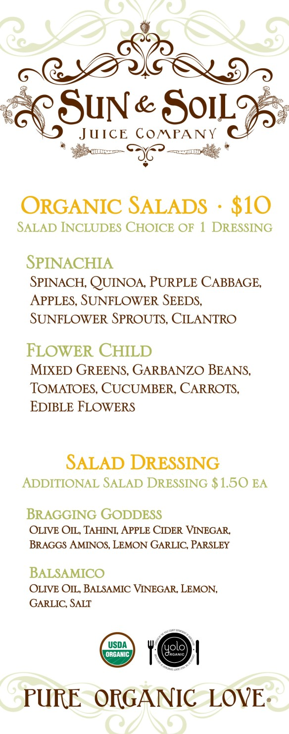 Sun and Soil Juice Co. Salad Menu